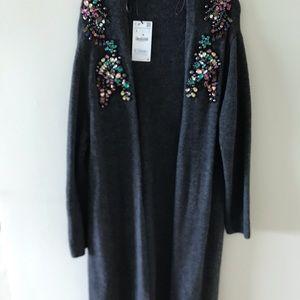 Zara Grey Jewled Long Sweater